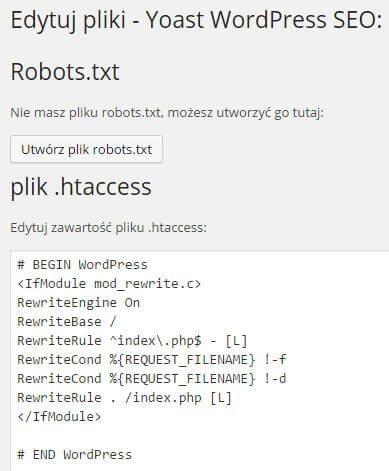 edycja robots.txt i .htaccess