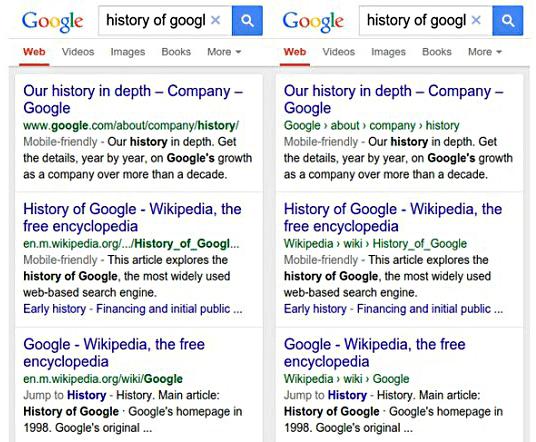 Zmiana wyświetlania adresów URL w mobilnym google. Po lewej przed zmianą, po prawej z nazwą adresu i breadcrumbs