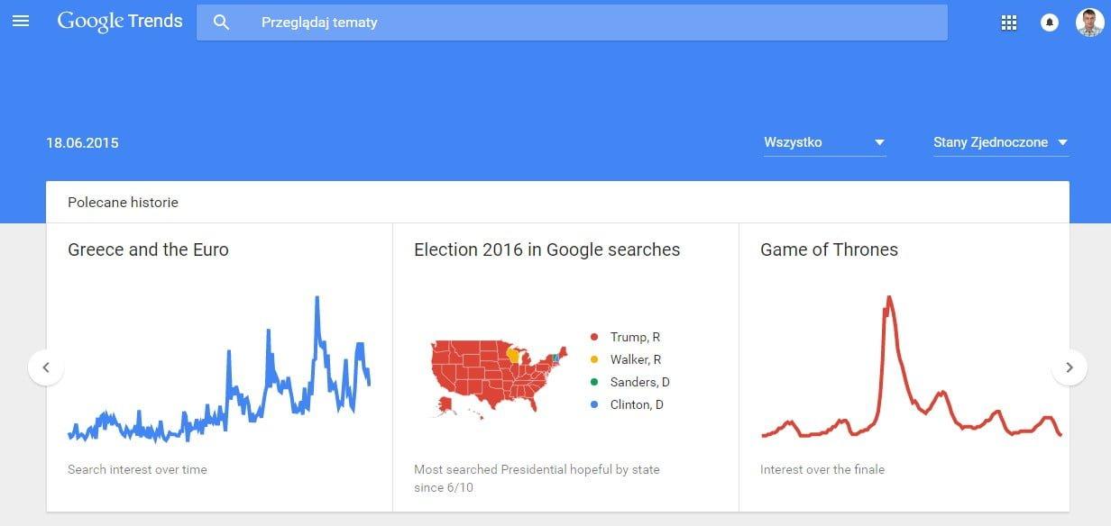 Google Trends wielkie zmiany w czasie rzeczywistym