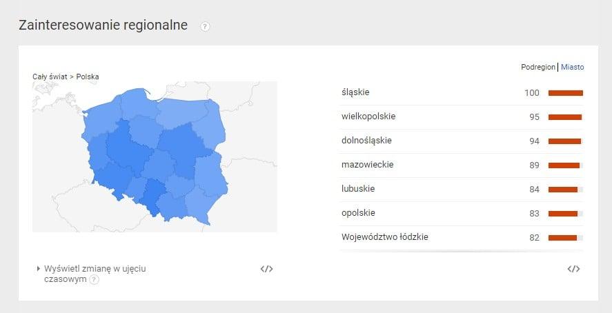 Regionalne wyszukiwanie frazy w Google Trends