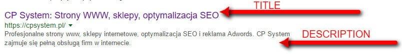 Obecność meta tagów w wyszukiwarce Google