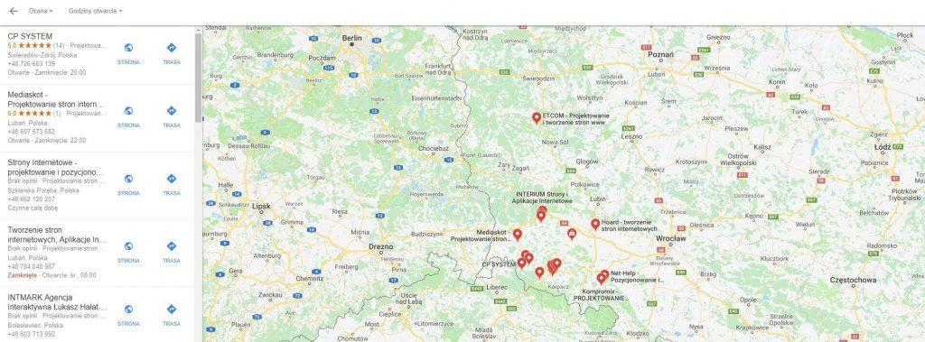 Prezentacja wyników wyszukiwania firm w Mapach Google