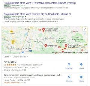 Prezentacja wyników z uwzględnieniem wyników z Map Google