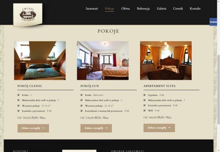 informacja o pokojach na stronie hotelowej