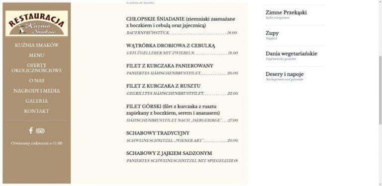 menu na stronie restauracji