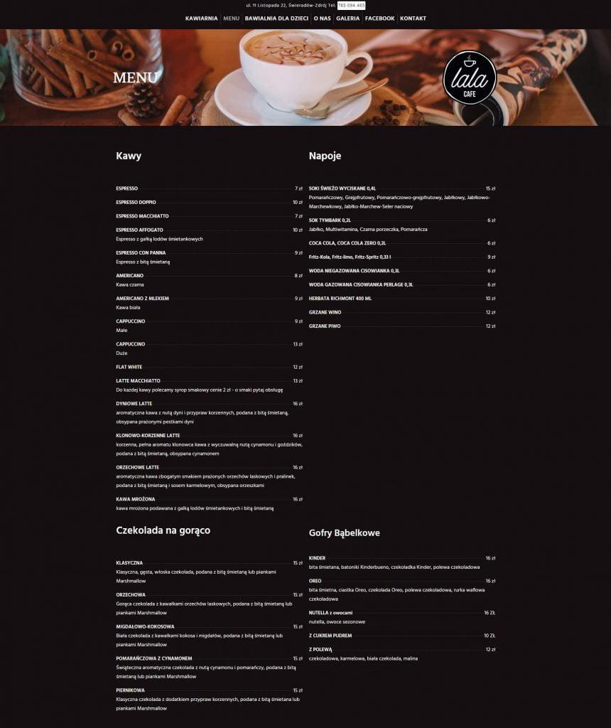 menu kawiarni na stronie www