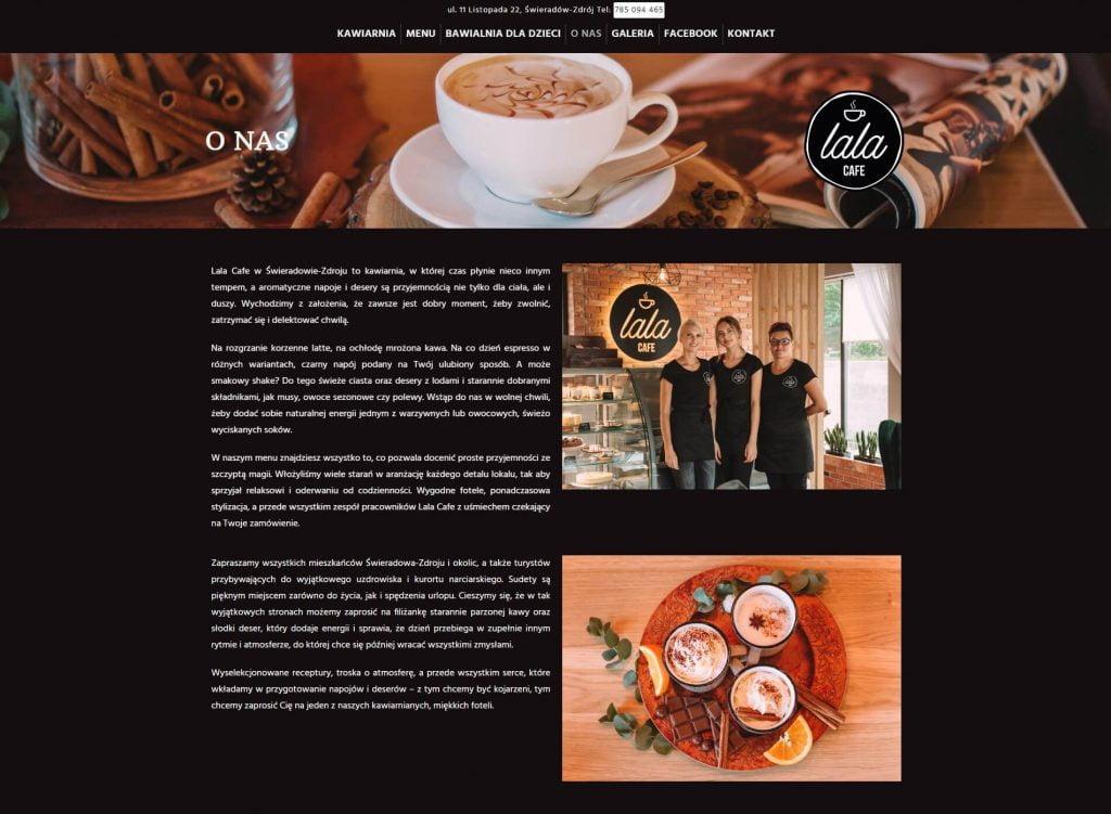 podstrona z opisem kawiarni