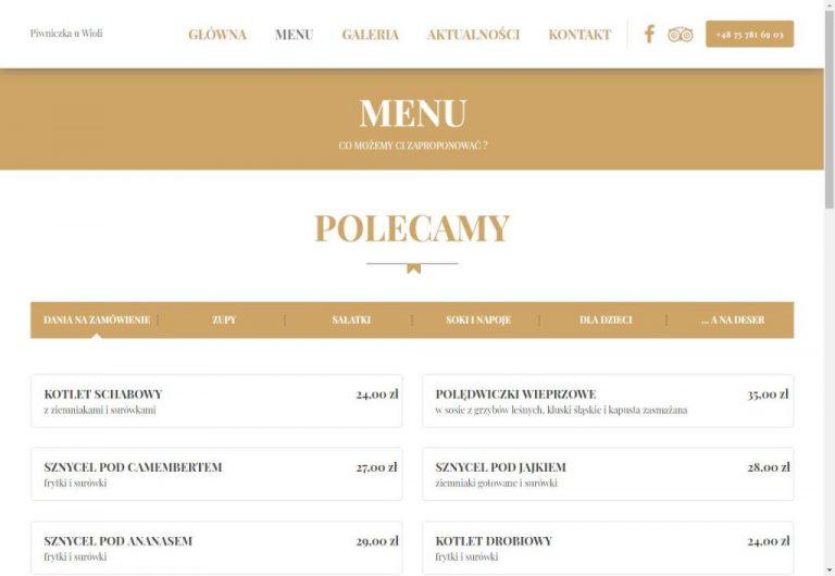 menu na stronie www