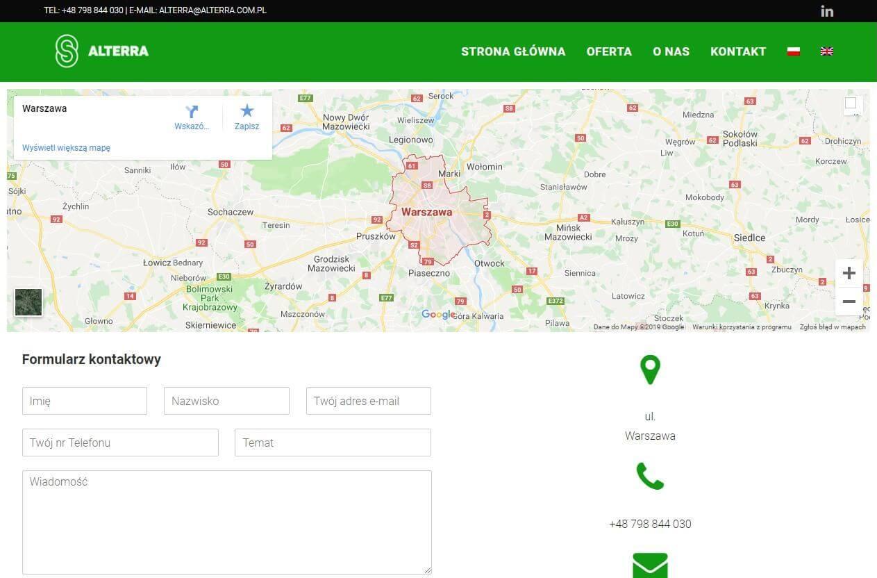 formularz kontaktowy z mapką dojazdową