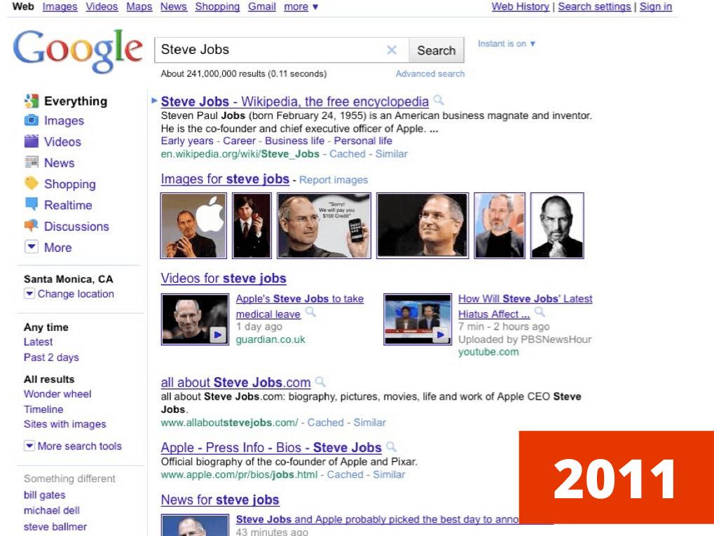 wyszukiwarka google w 2011 roku