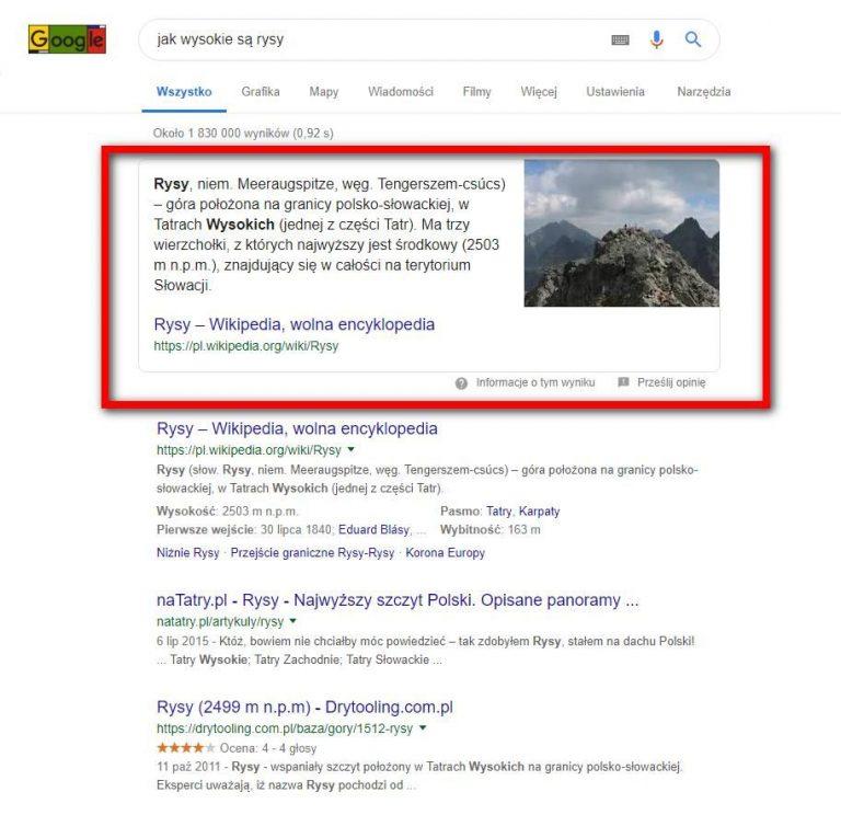 pozycja zerowa w google