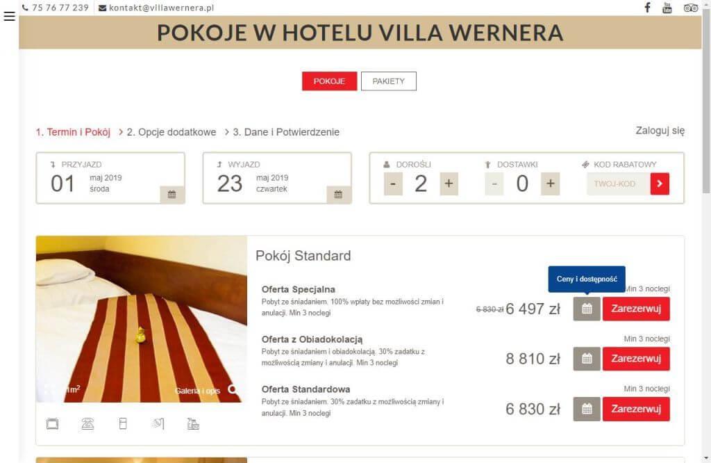 rezerwacje online na stronie hotelu