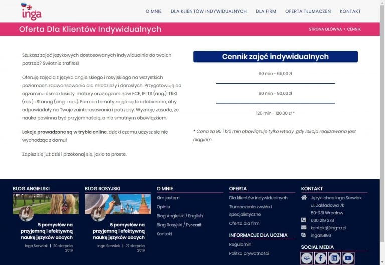 cennik usługowy na stronie internetowej