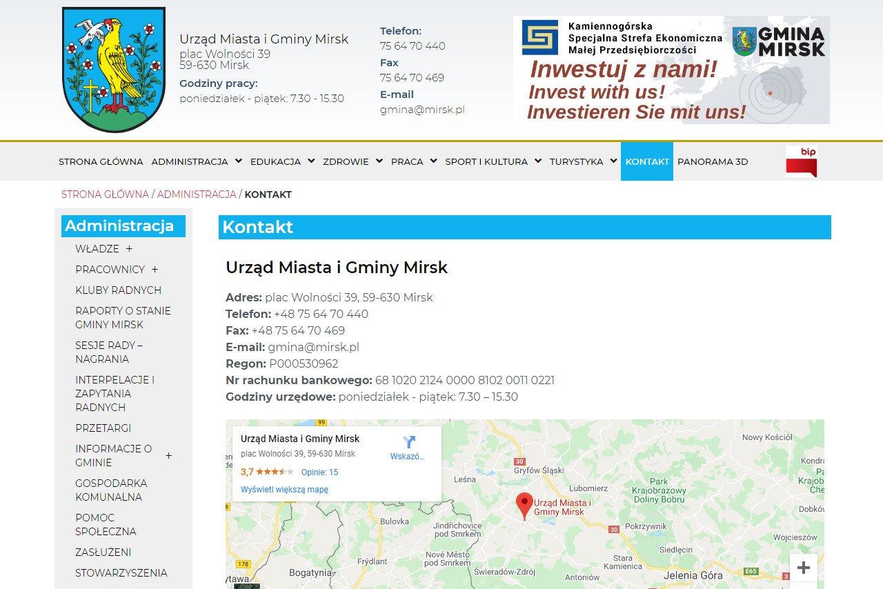 kontakt na stronie internetowej urzędu