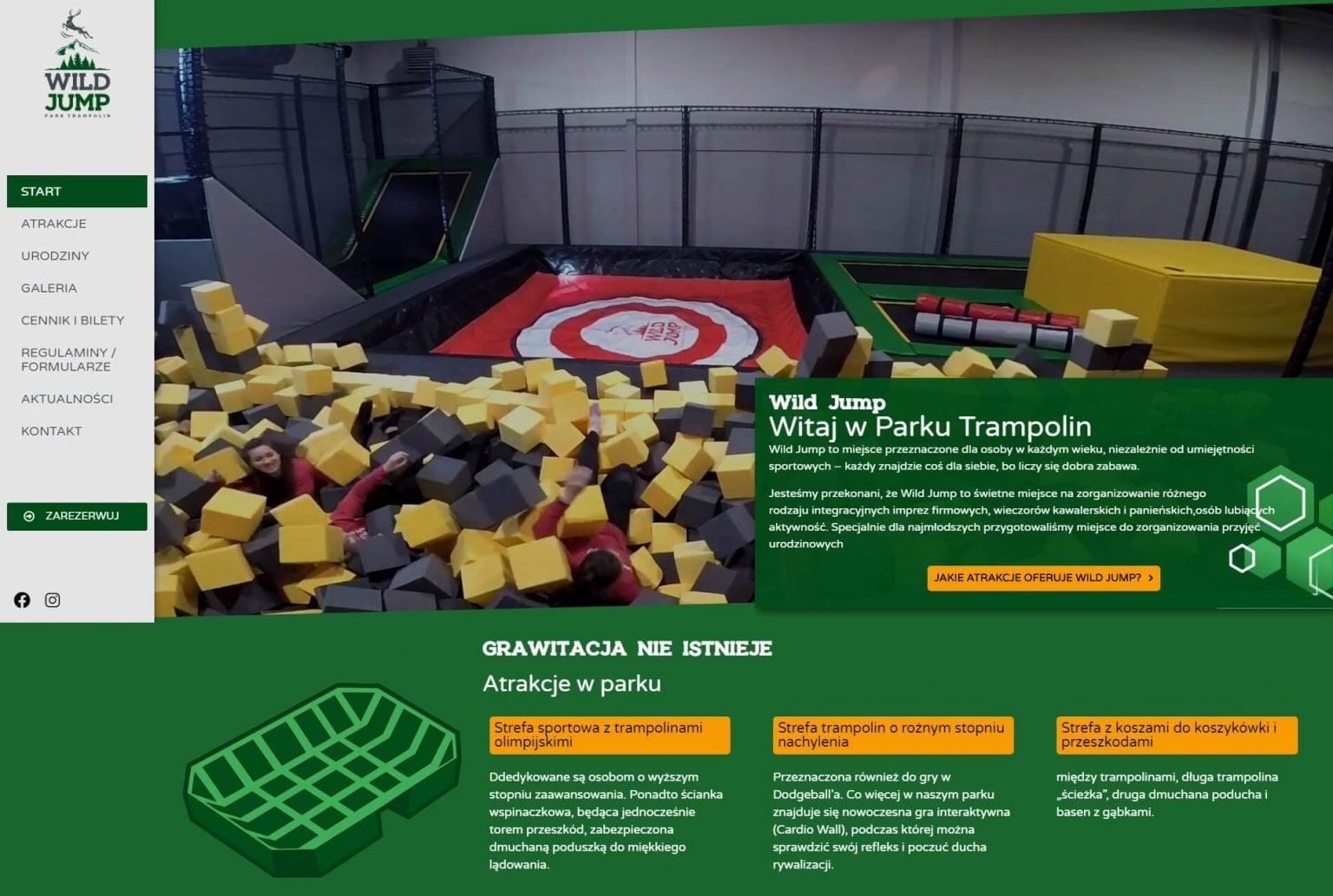 strona główna parku trampolin