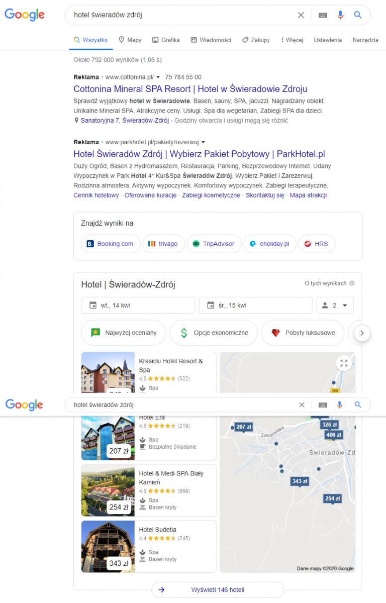 reklama hoteli w google ads