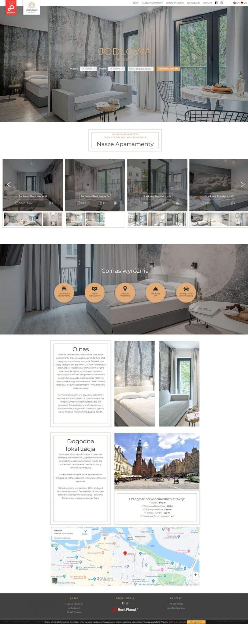 strona www onepage dla apartamentów