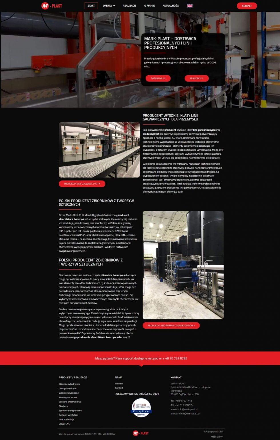 strona www dla firmy produkcyjnej