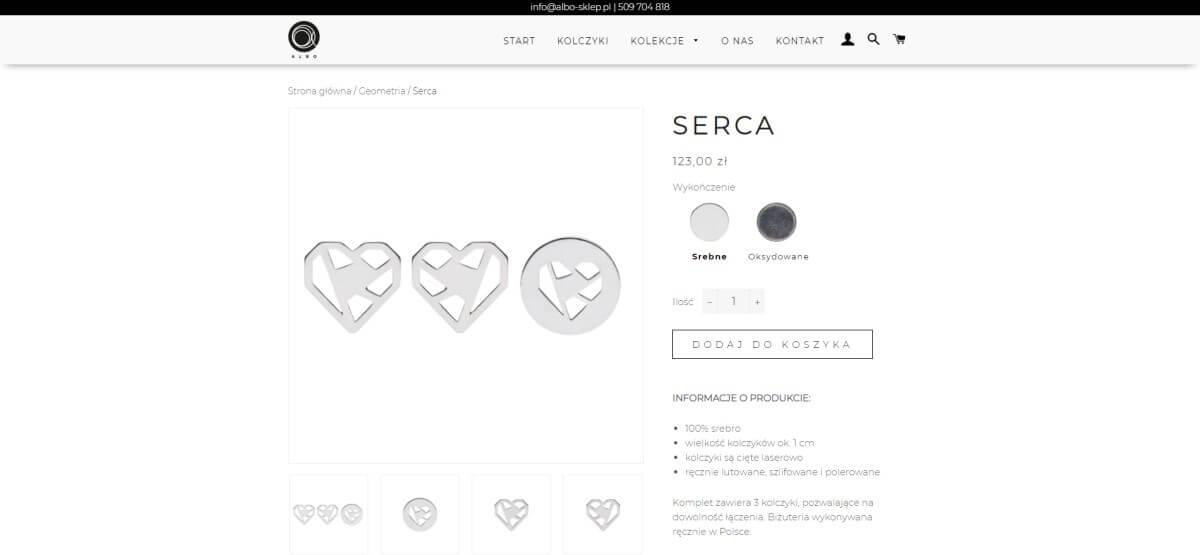 podstrona produktu z biżuterią