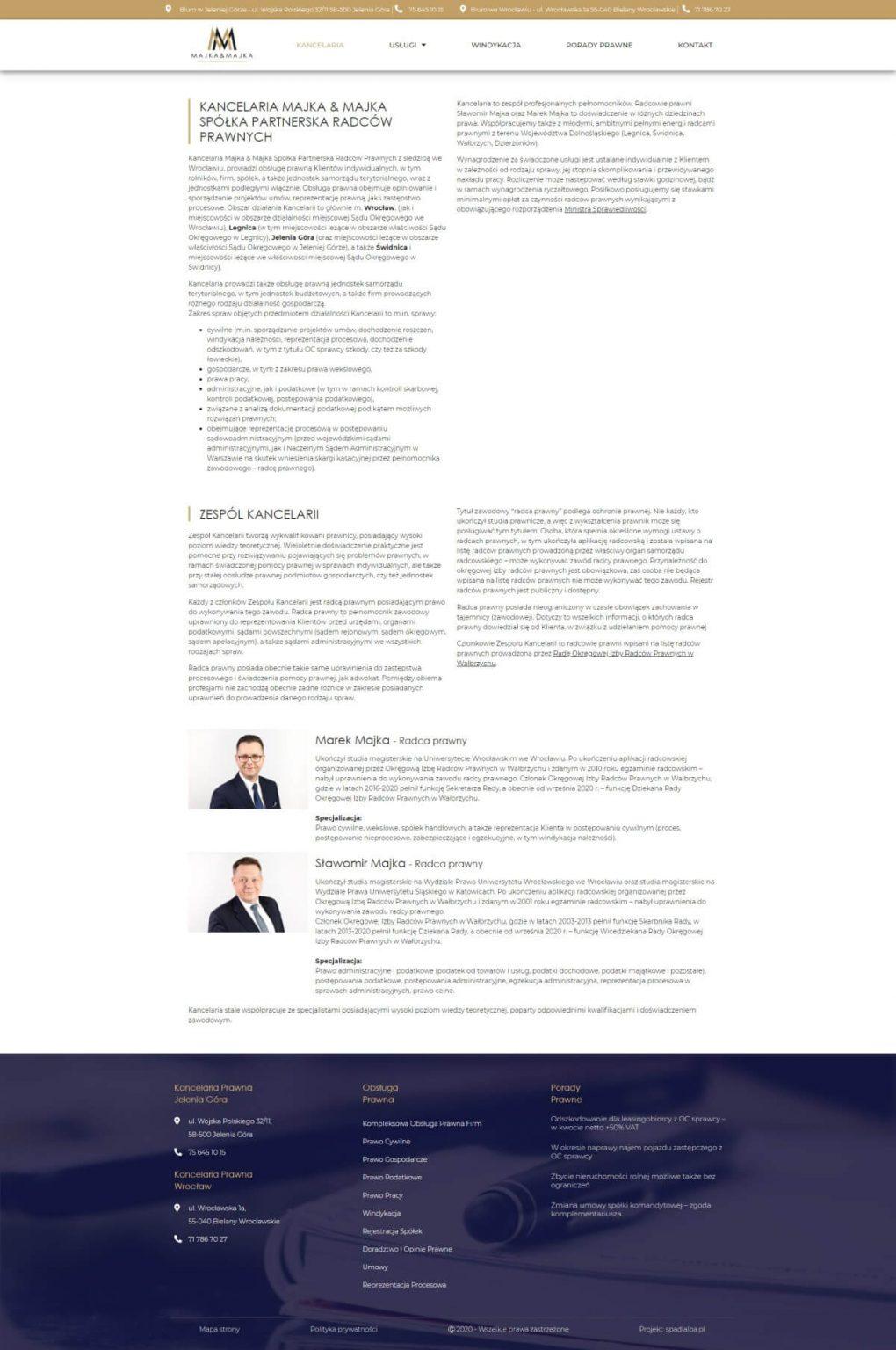 prezentacja radców prawnych na stronie www