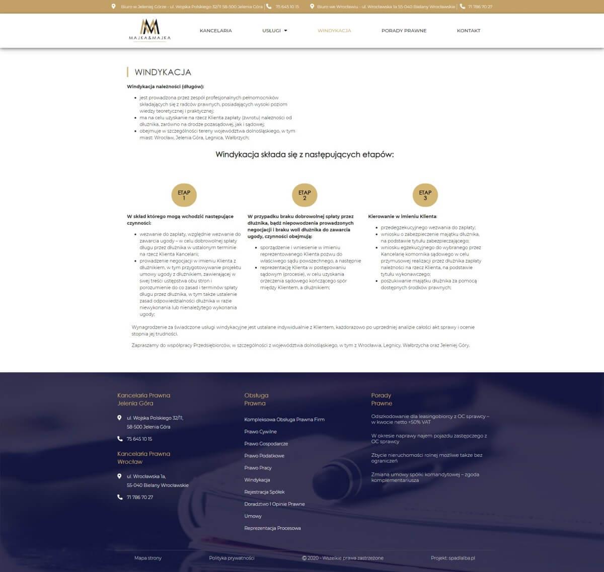 usługi kancelarii prawnej na stronie internetowej