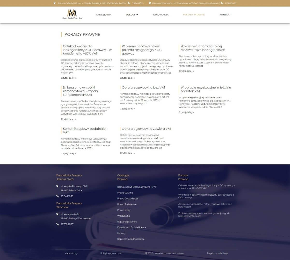 porady prawne na stronie www